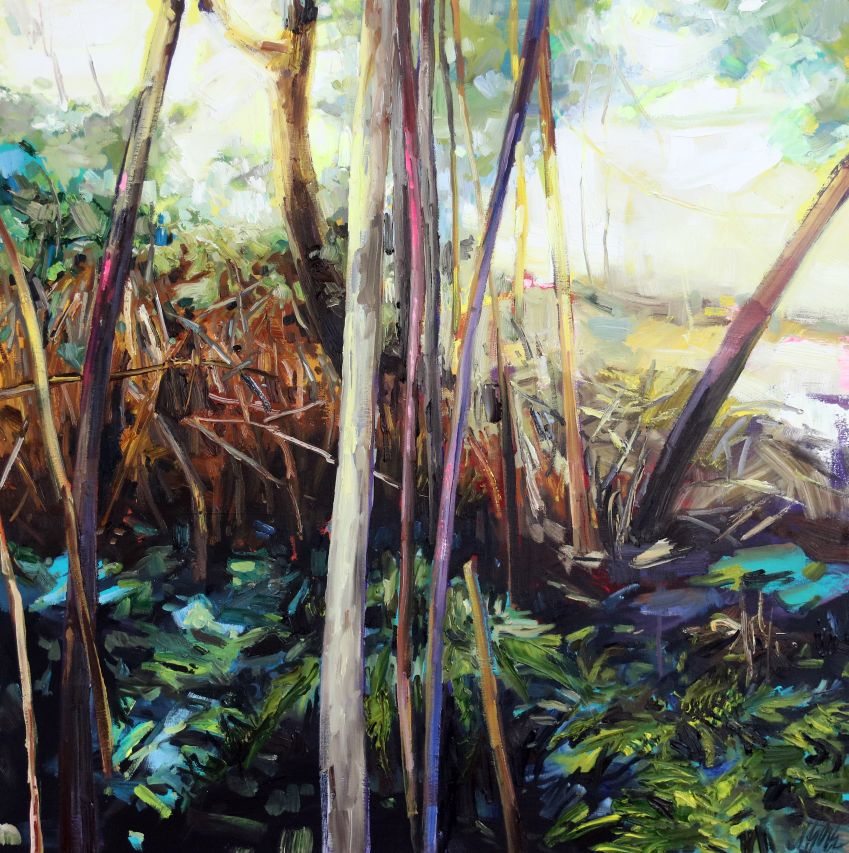 JULIE HIMEL Rebirth II, Acrylic and oil on canvas, 30 x 30 inches, 76 x 76 cm