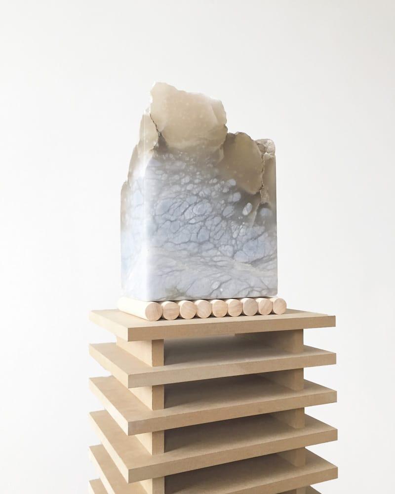 ALASTAIR MARTIN Tacere Acerra (Silent Altar), 2017, Spanish Blue Alabaster, poplar and mdf, 47 x 12 x 9 inches