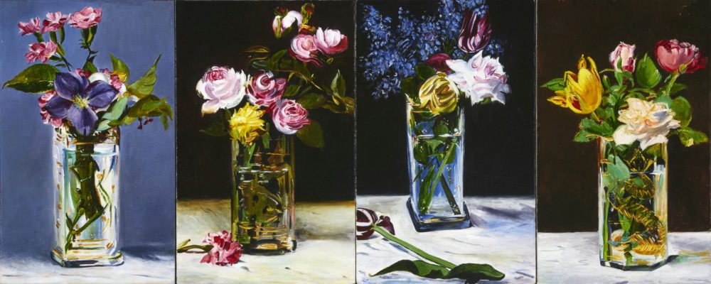 TIM MERRETT The Last Flowers (Manet - 1883), 2017, 10 x 25 inches, 25 x 64 cm