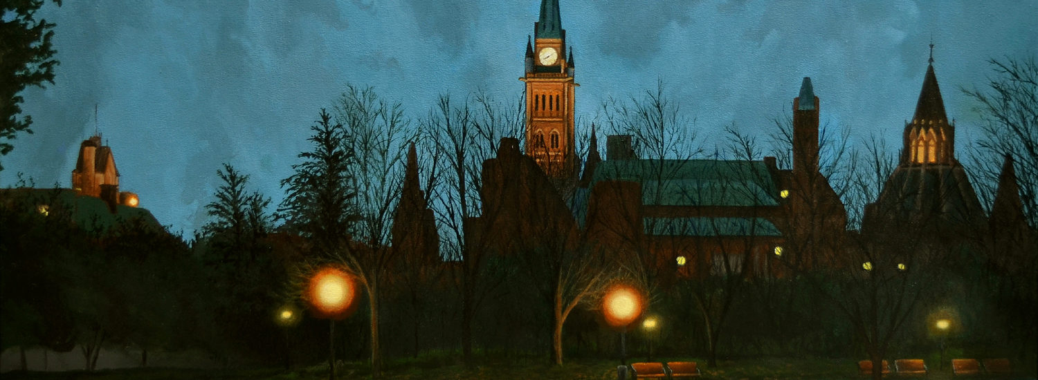 STEVE WILSON The Maple Leaf Forever (Parliament Hill), 2017, Acrylic on canvas, 26 x 40 inches, 66 x 102 cm
