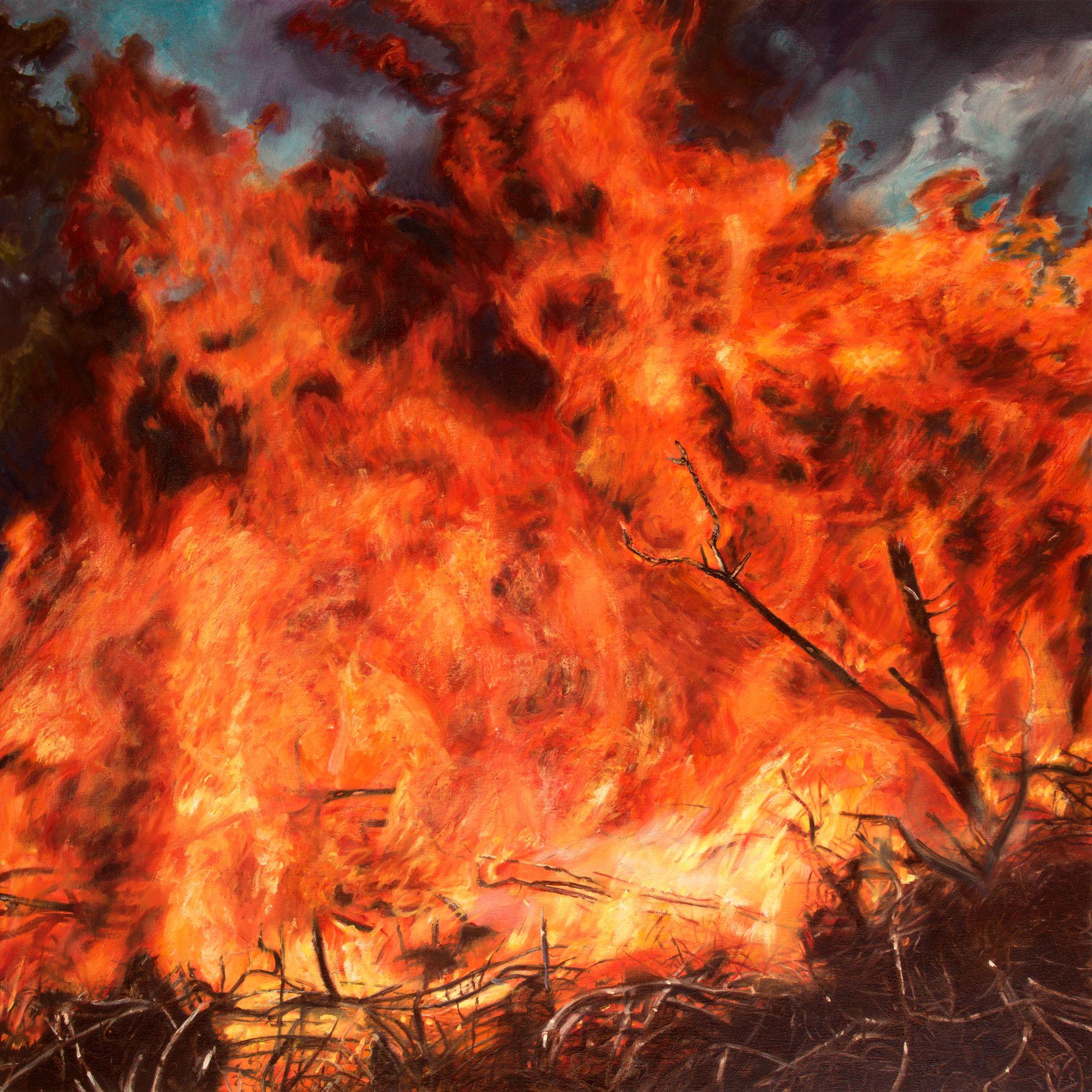 JENNIFER WALTON Conflagration, 2016, Oil on canvas, 30 x 30 inches, 76 x 76 cm