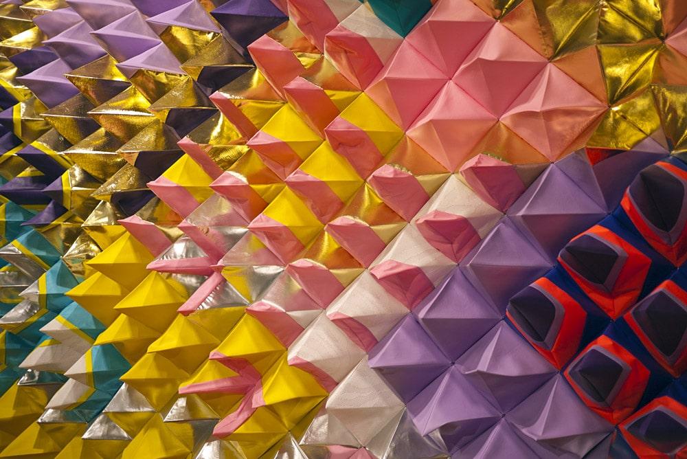 Detail of textile artwork, Polytopia by Magda Wojtyra